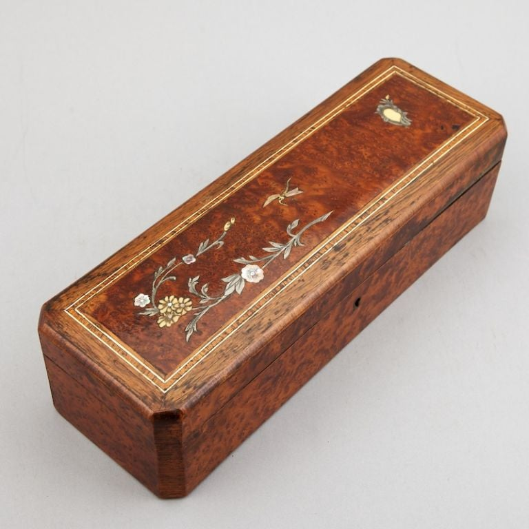 Wooden Glove Box ~ French burl wood glove box with ivory and mother of pearl