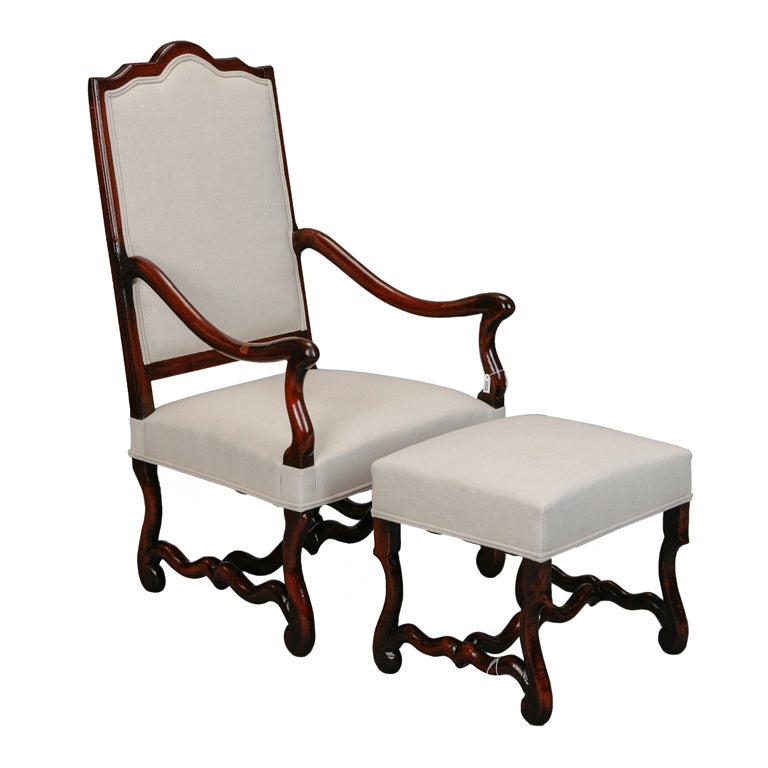 Os de mouton arm chair with matching footstool for sale at for Matching arm chairs