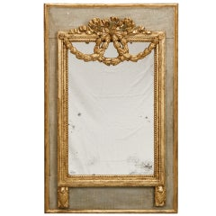 French Blue Painted Mirror With Parcel Gilt Garland and Bow Detailing