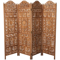 Anglo Indian Elaborately Carved Four Panel Screen