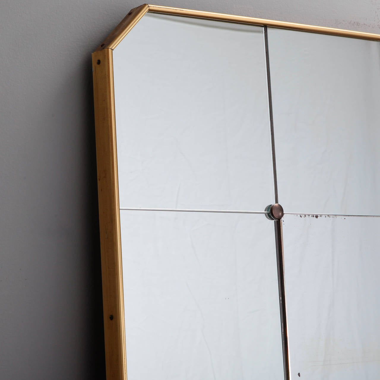 Large mid century ponti style standing brass frame and for Standing mirror frame