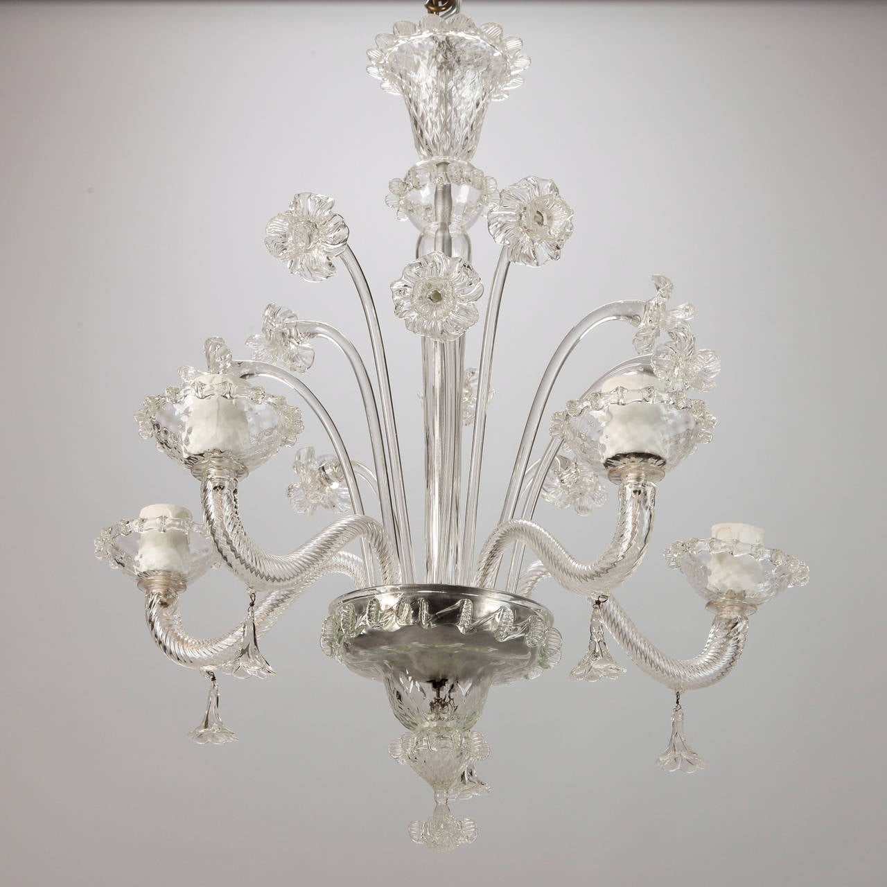 Italian Venetian Five-Light Clear Glass Daffodil Chandelier For Sale