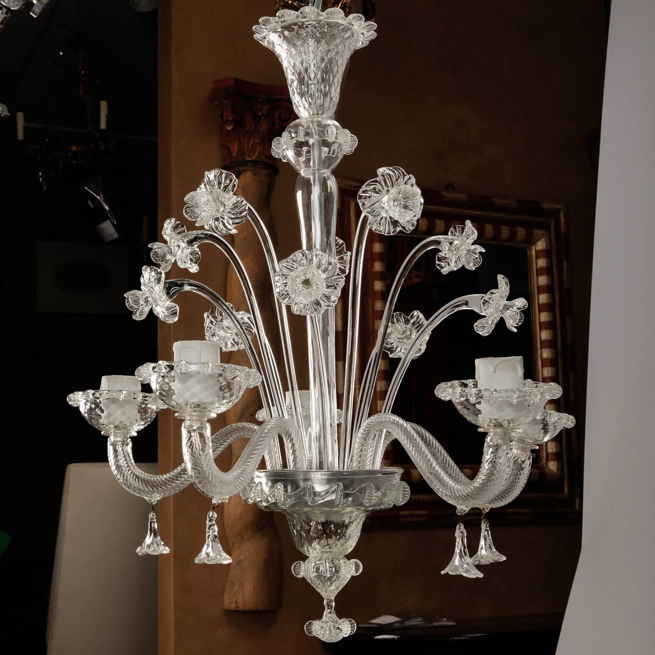 Venetian Five-Light Clear Glass Daffodil Chandelier For Sale 1