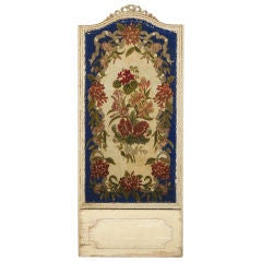 French Tapestry Panel in Painted White Wood Frame