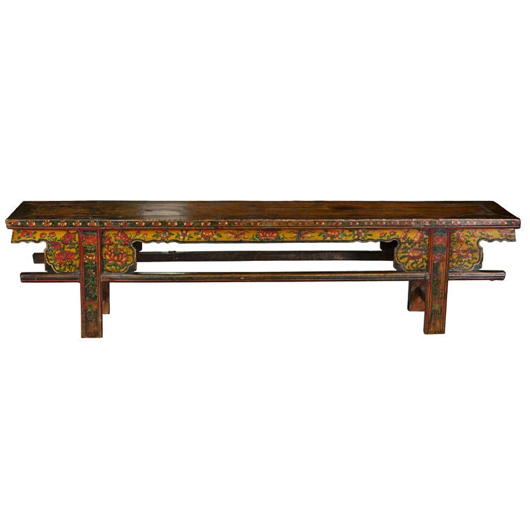 Chinese Long Wood Painted Bench At 1stdibs