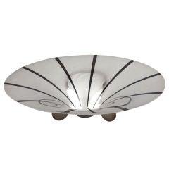 Ikora Mid Century Modernist Chrome & Enamel Pedestal  Bowl