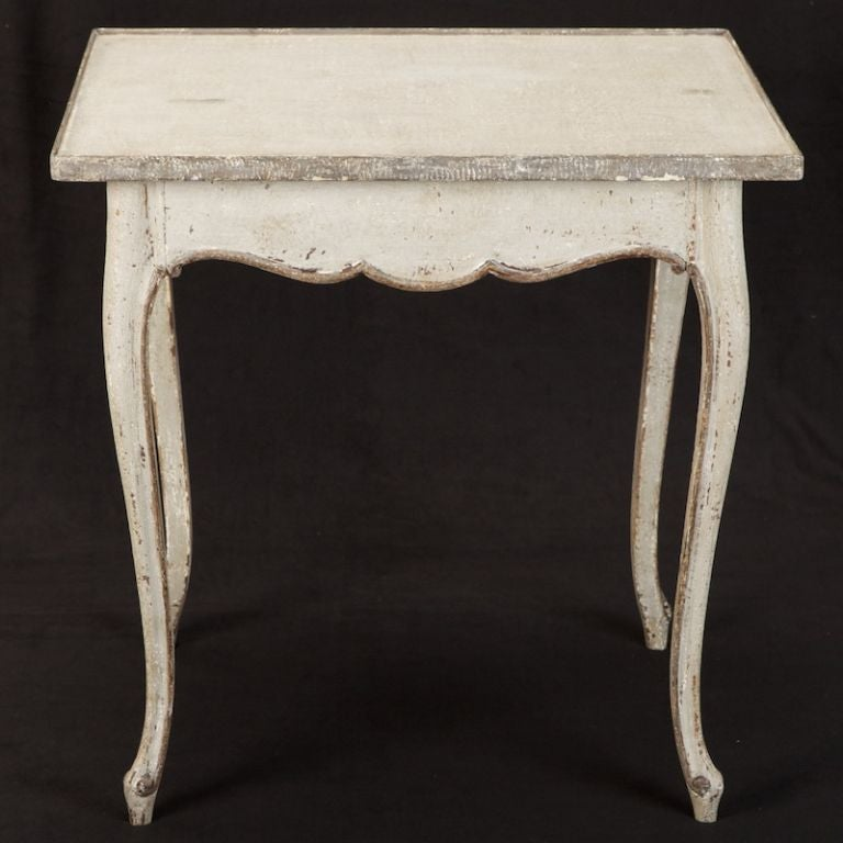 French White and Gray Painted Side Table 2