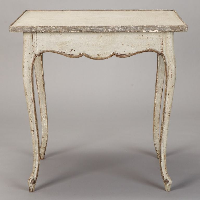 French White and Gray Painted Side Table 4