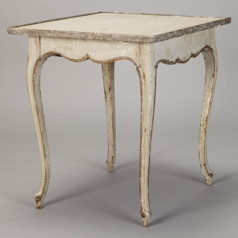 French White and Gray Painted Side Table 5