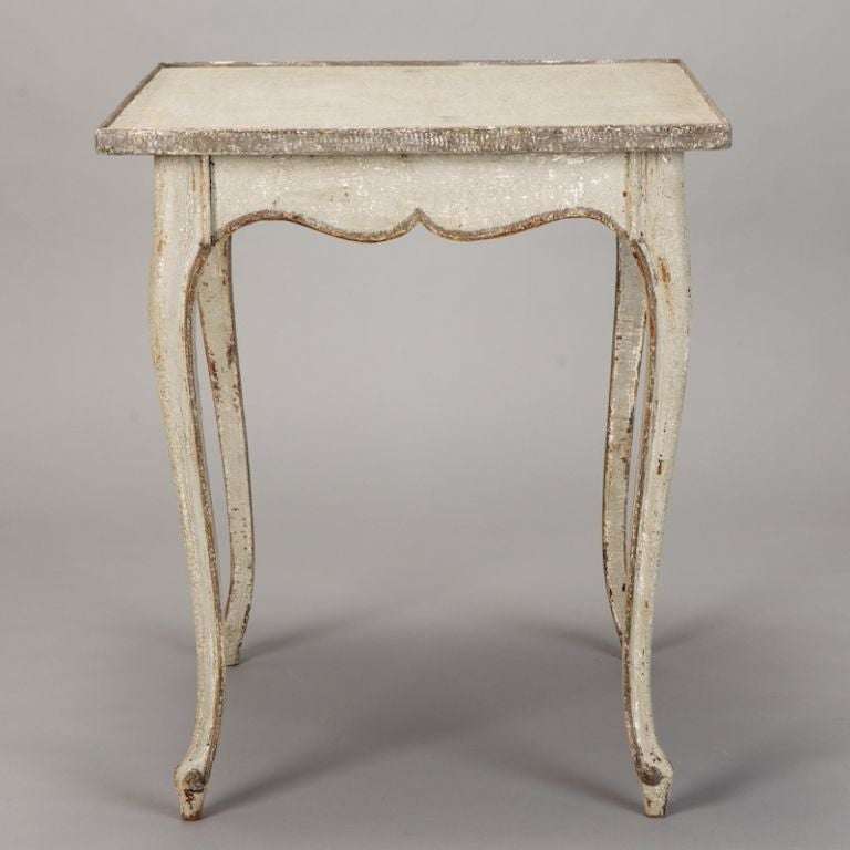 French White and Gray Painted Side Table 6