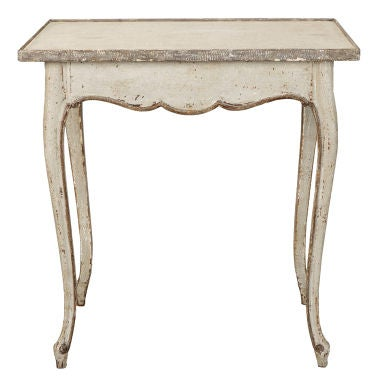 French White and Gray Painted Side Table