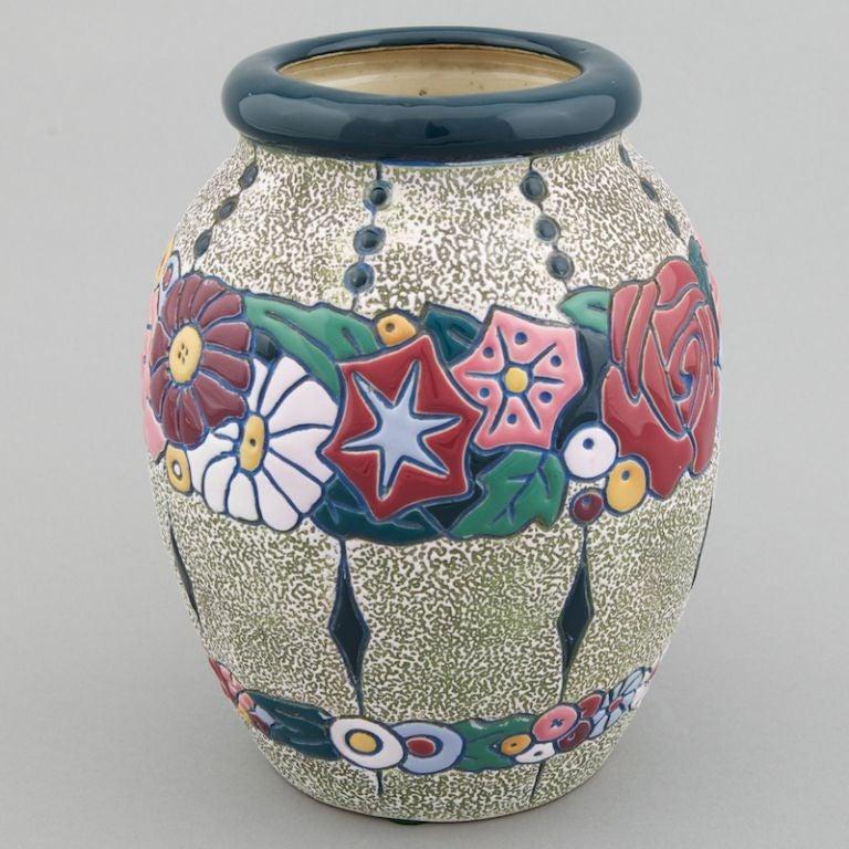Signed Amphora Jugenstil Vase With Roses At 1stdibs