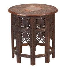 Large Moorish Style Table with Brass Inlay