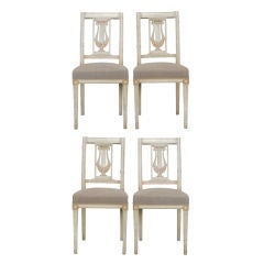 Set of Four French Antique White Painted Lyre Back Chairs