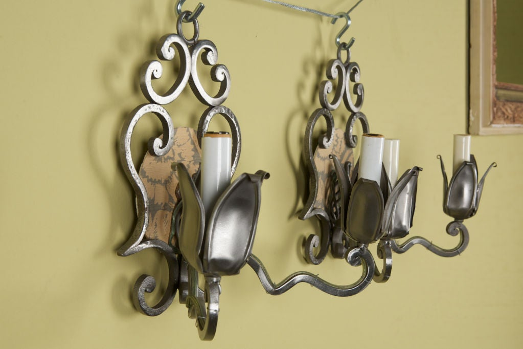 pair art deco metal sconces at 1stdibs. Black Bedroom Furniture Sets. Home Design Ideas