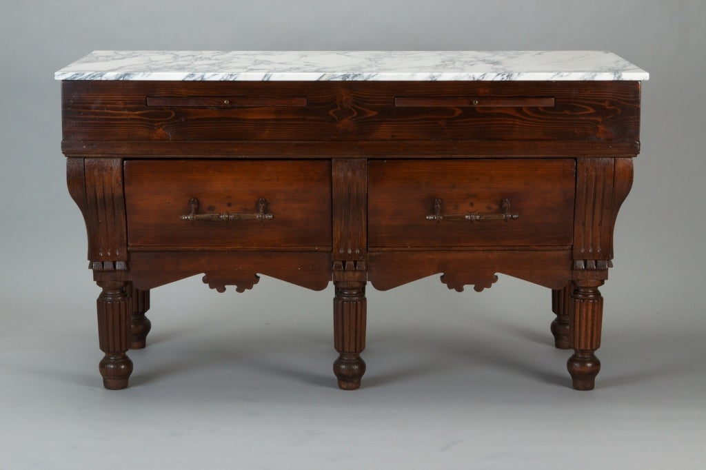 French Butcher S Block Table With New Marble Top At 1stdibs