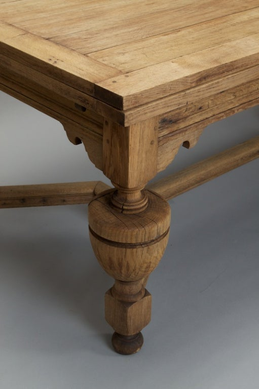 Bleached Oak French Refractory Table With Spheroidal Legs
