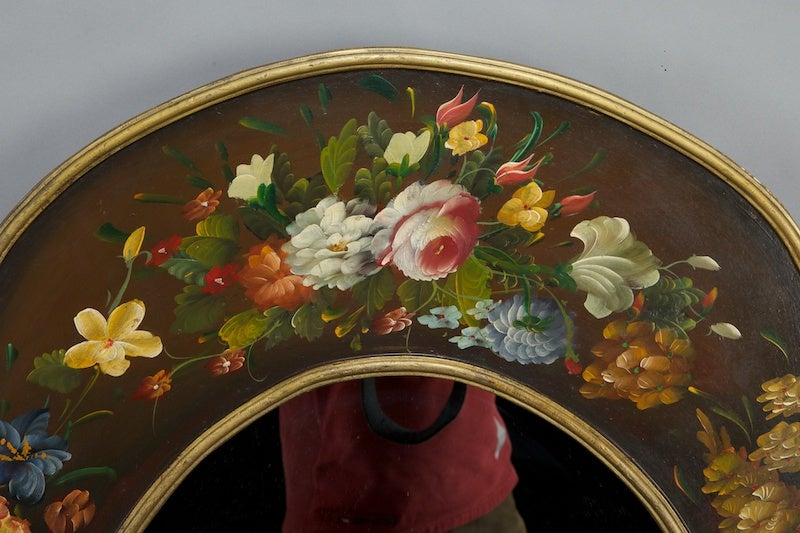 Italian Mirror With Black Frame And Dutch Style Painted