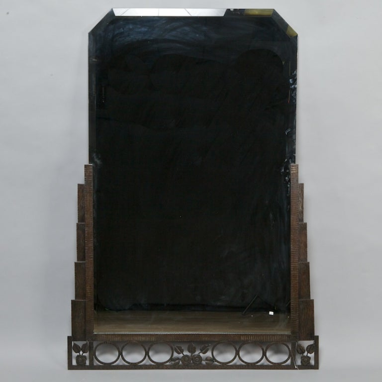 Tall rectangular art deco fer forge mirror at 1stdibs for Deco fer forge mural