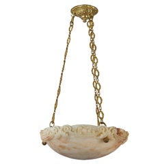 French Hand-Carved Alabaster Hanging Light Fixture with Cast Brass Chain