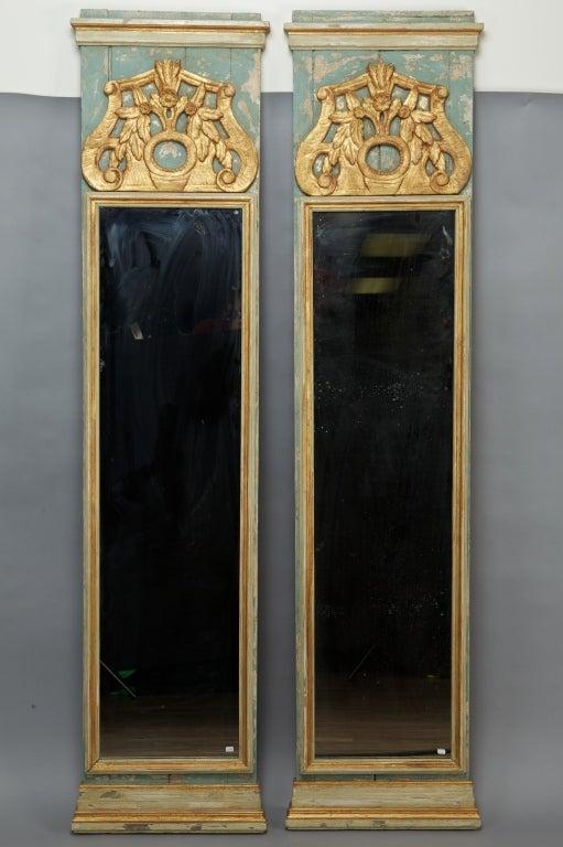 Pair 19th Century Italian Tall Narrow Mirrors At 1stdibs