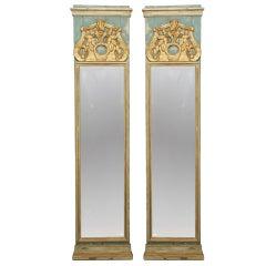 Pair 19th Century Italian Tall Narrow Mirrors