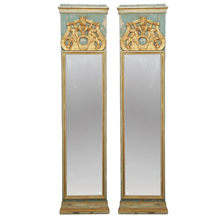 pair 19th century italian tall narrow mirrors at 1stdibs