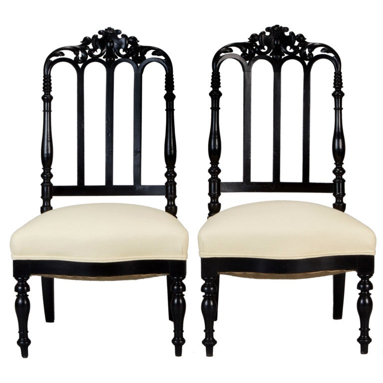 Pair of Black Anglo-Raj Side Chairs