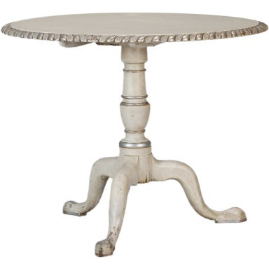 French White Tilt Top Table with Silver Gilt Edge
