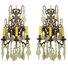 Pair Three-Light Bronze Sconces
