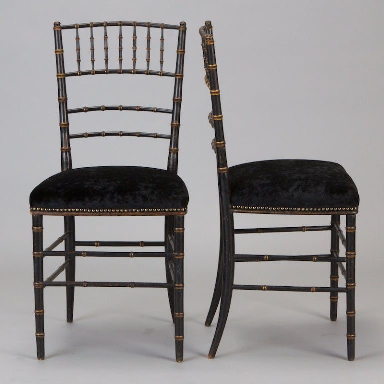 Painted Pair of English Black Faux Bamboo Chairs For Sale