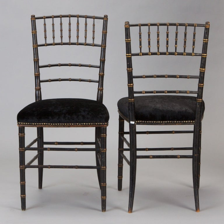 Pair of English Black Faux Bamboo Chairs In Excellent Condition For Sale In Troy, MI