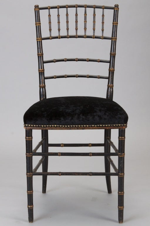 20th Century Pair of English Black Faux Bamboo Chairs For Sale