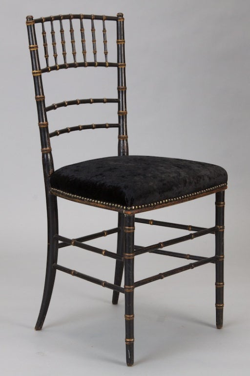Upholstery Pair of English Black Faux Bamboo Chairs For Sale