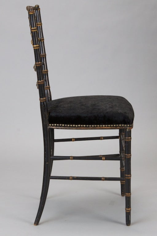 Pair of English Black Faux Bamboo Chairs For Sale 1
