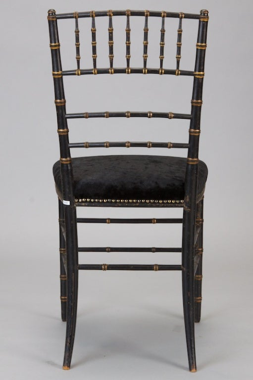 Pair of English Black Faux Bamboo Chairs For Sale 2