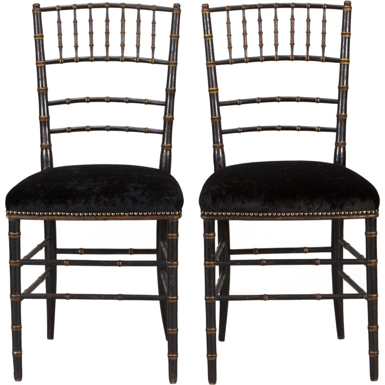 Pair of English Black Faux Bamboo Chairs For Sale