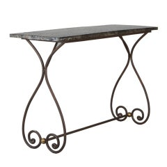 French Metal Table Base With Zinc Top