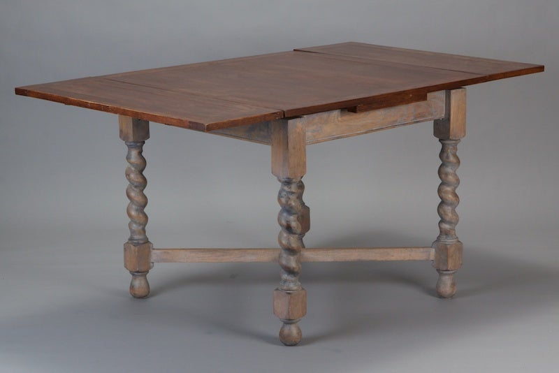 Small Painted English Refractory Table With Barley Twist