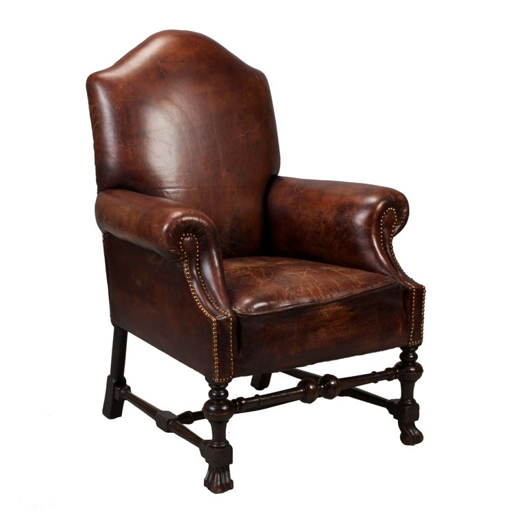 French Brown Leather Library Chair With Brass Nailhead
