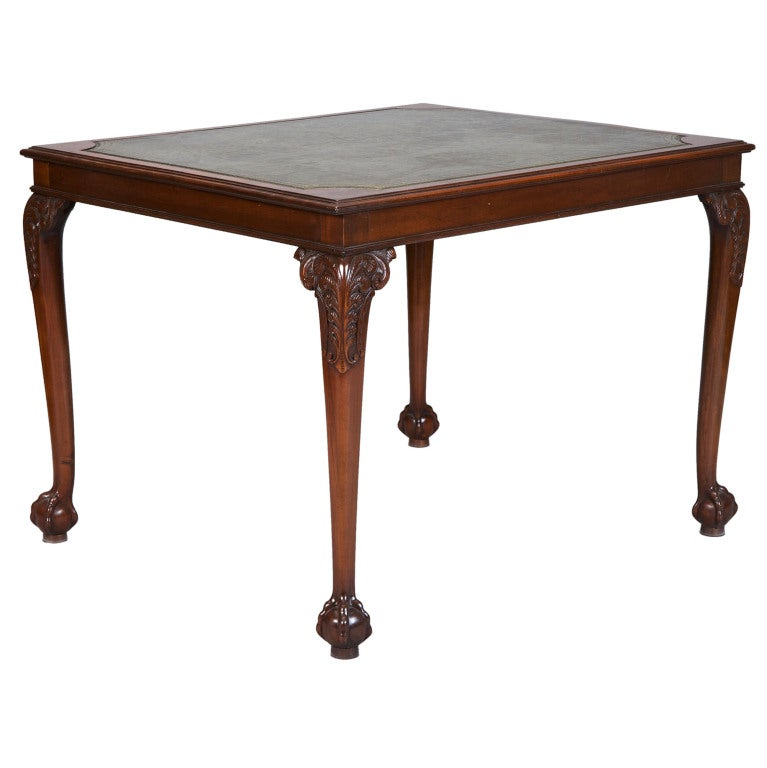 Edwardian Game Table With Green Leather Top 1