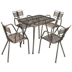 Mesh Top Metal Industrial Table and 4 Chairs