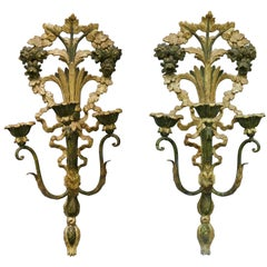 Pair of Three Light Giltwood Sconces