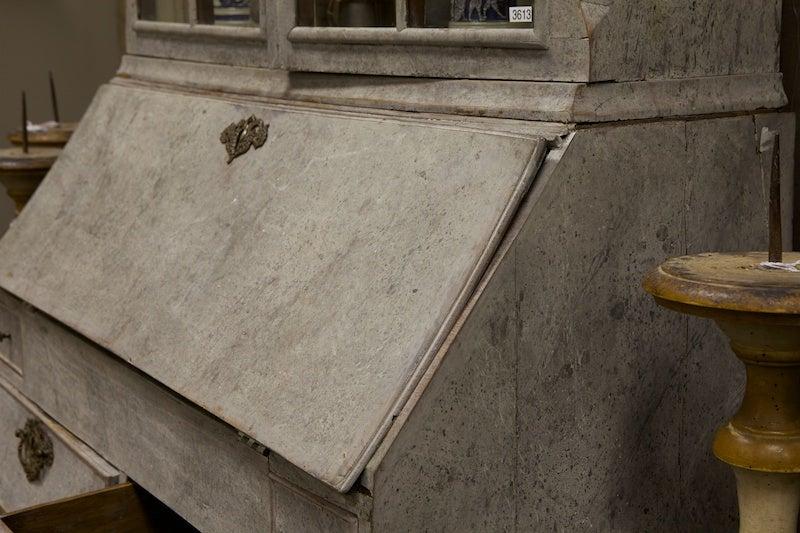 Carved Swedish Painted Bureau Bookcase