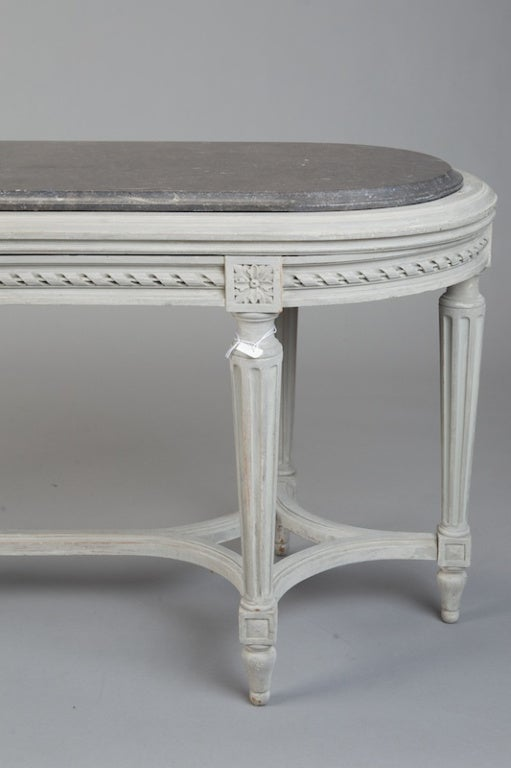 French Painted Bench With Marble Top For Sale At 1stdibs
