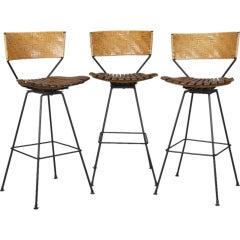 Set of 3 Arthur Umanoff Mid Century Swivel Bar Stools with Woven