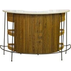 Mid Century Arthur Umanoff Wood and Iron Demilune Bar