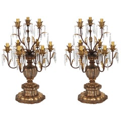Pair of Large 19th Century Italian Giltwood and Crystal Lustre Lamps