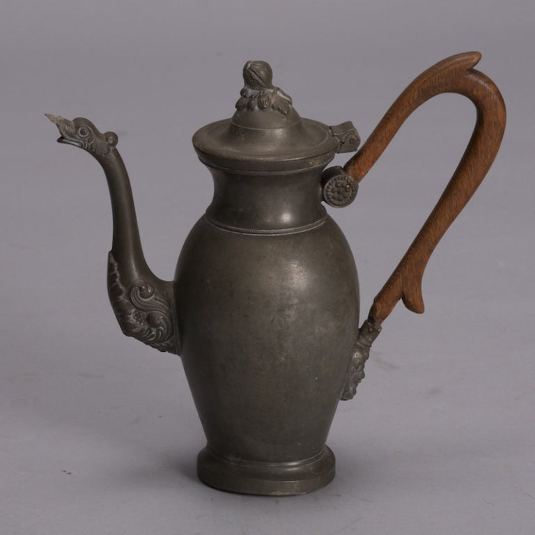 19th Century Pewter Coffee Pot With Long Wood Handle At