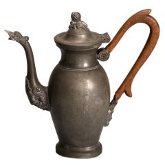19th Century Pewter Coffee Pot With Long Wood Handle
